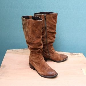 Born Doyle Brown Suede Slouchy Riding Boots Sz 6